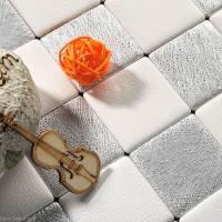 DecorGenius White Grey Leather Wall Tile Living Room Decor Wall Tiles Mosaic DGWH037