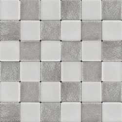 DecorGenius White Grey Leather Wall Tile Living Room Decor Wall Tiles Mosaic DGWH037