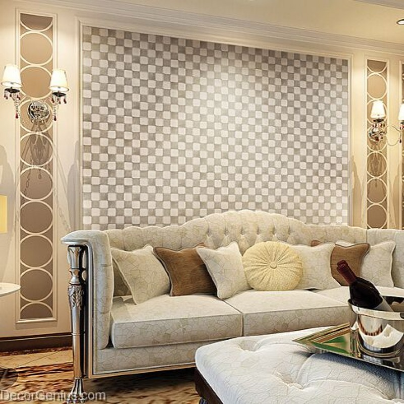 Decorgenius white grey leather wall tile living room decor for Wall tiles designs for living room