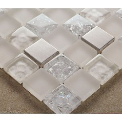 DecorGenius Stainless Steel Sink Floor Tile 3D Mirror Crystal Mosaic Glass Wall Tiles