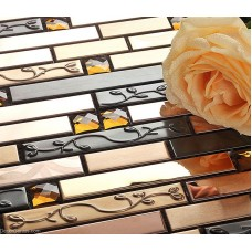 DGWH041 Silver Stainless Steel Sink Floor Wall Tile Natural 3D Glass Mosaic Tiles
