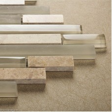 Light Grey Natural Stone Strip Mosaic Floor Tile Home Decorative Backsplash Stone Wall Tile