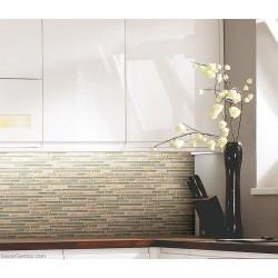 Light Grey Natural Stone Strip Mosaic Floor Tile Home Decorative Backsplash Stone Wall Tile
