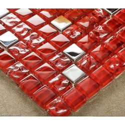 [Out of stocks] Dark Red Glass Tile Mirror Tiles Pink Decorative Stainless Steel Mosaic Tile Mirrored Frame