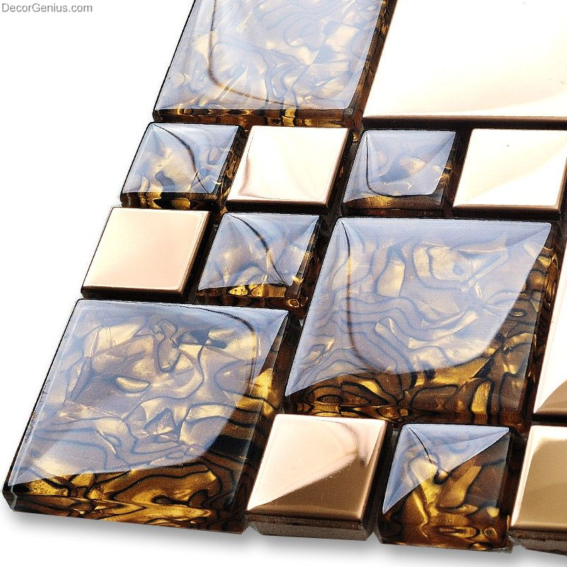 Badroom Gold Adhesive Glass Mirror Tiles 3D Tile Stickers ...