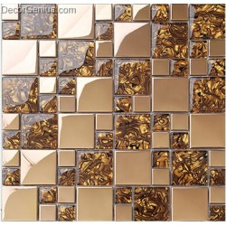 Badroom Gold Adhesive Glass Mirror Tiles 3D Tile Stickers Kitchen Pattern Wall Panel