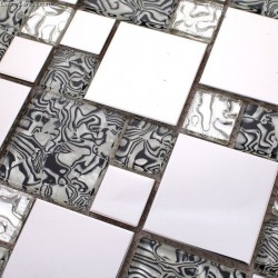 Silver Metal Backsplash Tiles Blend wtih Diamond Glass Floor Mosaic Kitchen Background Tile
