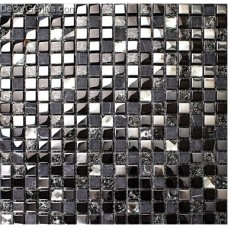 Pure Black Tile Floor Decoration Diamond Carved Crystal Glass Blend Stone Mosaic Tiles Bathroom