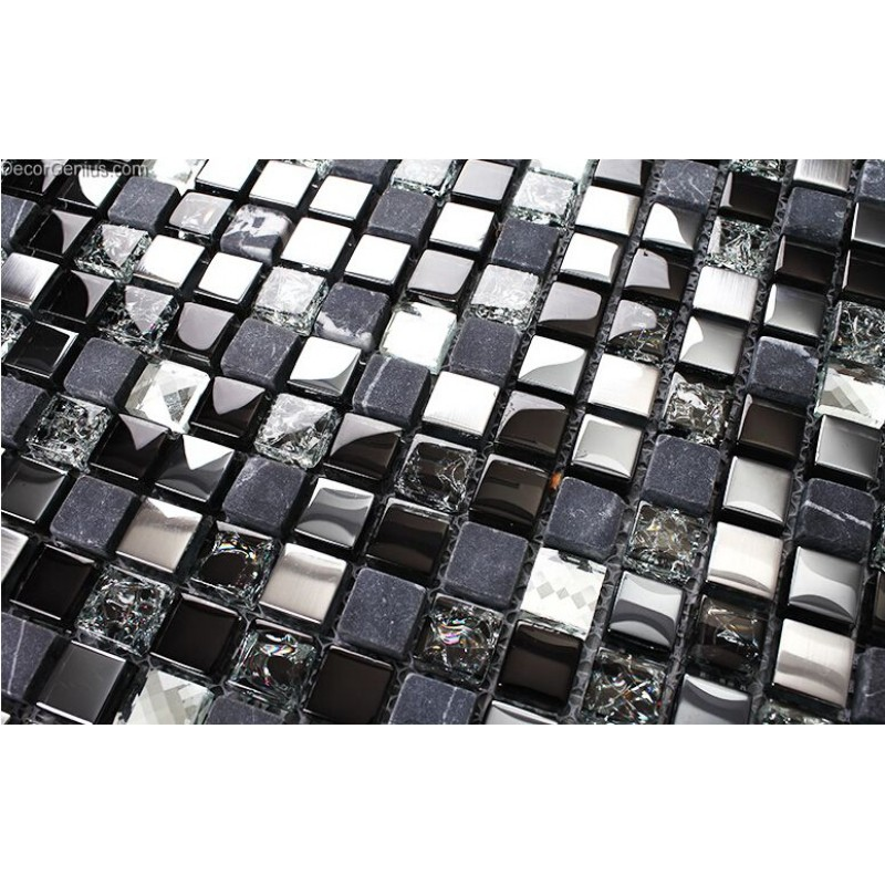 Pure Black Tile Floor Decoration Diamond Carved Crystal