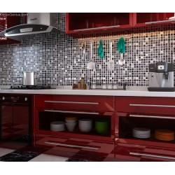 Pure Black Tile Floor Decoration Diamond Carved Crystal Glass Blend Stone Mosaic Tiles Bathroom