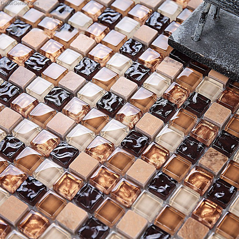 Ice Cracked Black Amber Chip Color Natural Discount Glass Floor Tile