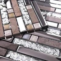 Galvanized Mirror Mosaic Tile Reflection Diamond Bathroom Tile Floor Mirror Glass Mosaic Wall Panel