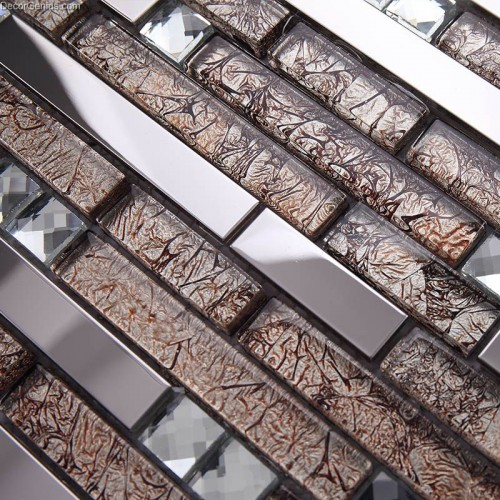 Stainless Steel Floor Tile Blend with Mosaic Glass Mirror Chip Tiles Home Decoration