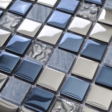 Blue Silver Wall Tile Blend Metal and Glass Stainless Steel Mosaic Floor Backsplash Kitchen Tiles