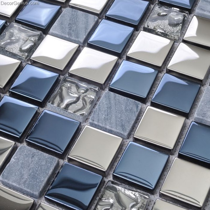 Blue Silver Wall Tile Blend Metal and Glass Stainless ...