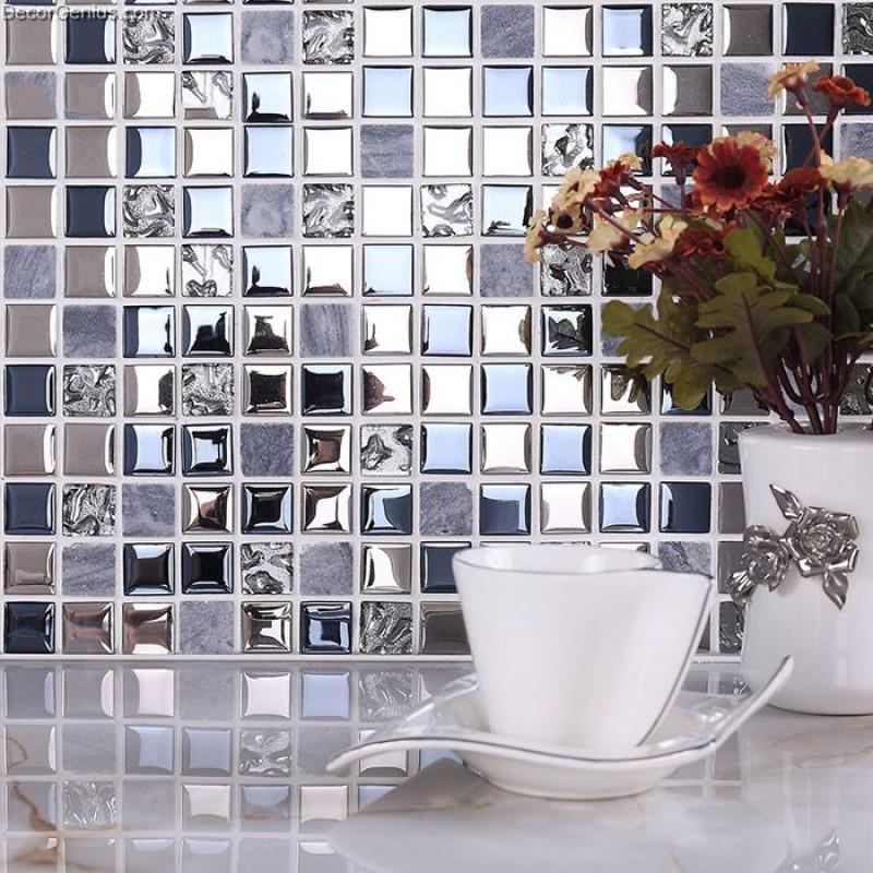 Blue Silver Wall Tile Blend Metal And Gl Stainless Steel Mosaic Floor Backsplash Kitchen Tiles