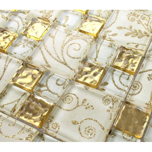 Crystal 11 Sheets 300X300 Wall Panel Tiles Mosaic Glass Galvanized Metal Kitchen Floor Tile