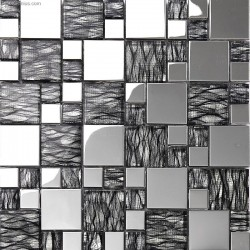 Silver Metal Aluminum Plate Mosaic DGWH062 TV Living room Background Tile Mosaic Wholesale