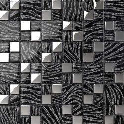 Pure Black metal wall decor kitchen Galvanized Mosaic Backsplash Tile