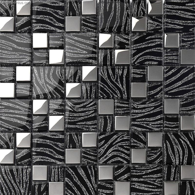 Pure Black Metal Wall Decor Kitchen Galvanized Mosaic