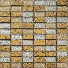 metal backsplash tiles 3D Mirror Tile Mosaic Glass Crystal Yellow Subway Tiles DGWH065