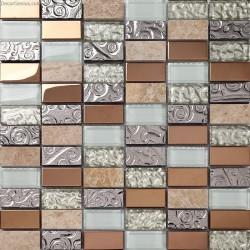 Pink Mosaic Glass Tile Round Mosaic Metal Tiles for Bathroom Cheap Glass Backsplash Decoration