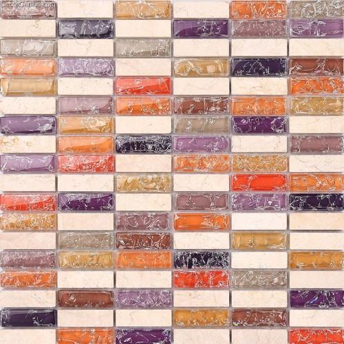 Pink Stone Mosaic Tile Ice Cracked Kitchen Countertop Marble Stone Mosaic Decor Tiles
