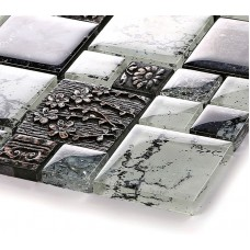 DecorGenius Popular Resin Blend Mosaic 3D Glass Mirror Countertop TV Background Mosaic Tile