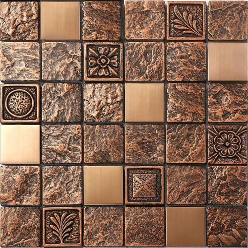 Natural Wooden TV Tile Stainless Steel Mosaic Metal Kitchen Backsplash Decor Tiles