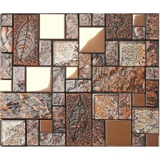 Stainless Steel Blend Ceramic Chip Mosaic Glass Tile Wooden Color Natural Tune