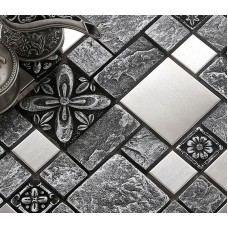 Silver Stainless Steel 3D Hand Made Porcelain Wall Tile Fooor Mosaic Tile