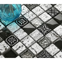 Porcelain Mosaic Wall Tile Decoration Natural Hand Made 3D Glass Backsplash Tiles