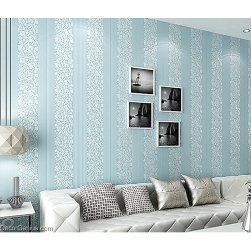 Wedding Wallpaper Blue Flower Stripe 3D Design Home Improvement Wallcover