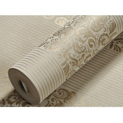Wedding Wallpaper Dark Gold Flower Stripe 3D Design Home Improvement Wallcover
