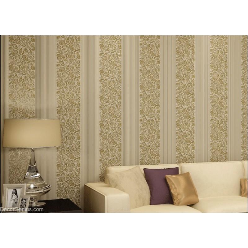 wedding wallpaper dark gold flower stripe 3d design home