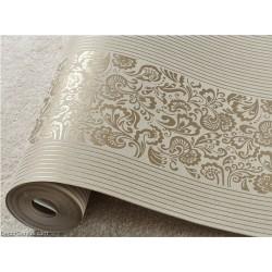 Wedding Wallpaper Dark Gold Flower Stripe 3D Design Home Improvement Wallcover