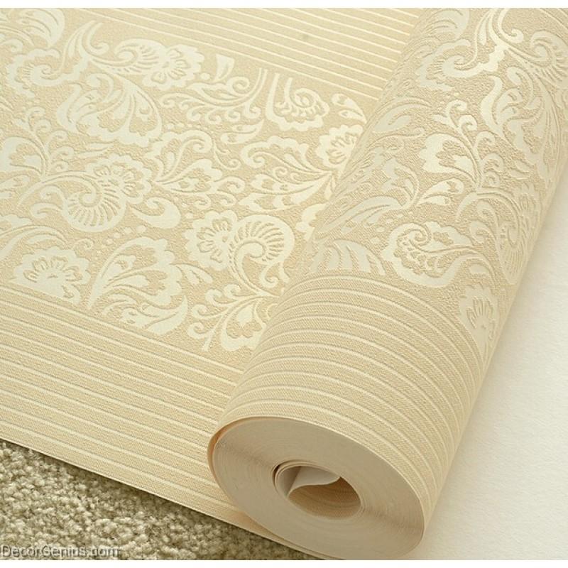 Home Design 3d Gold: Wedding Wallpaper LT GOLD Flower Stripe 3D Design Home