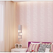 Wedding Wallpaper Pink Flower Stripe 3D Design Home Improvement Wallcover