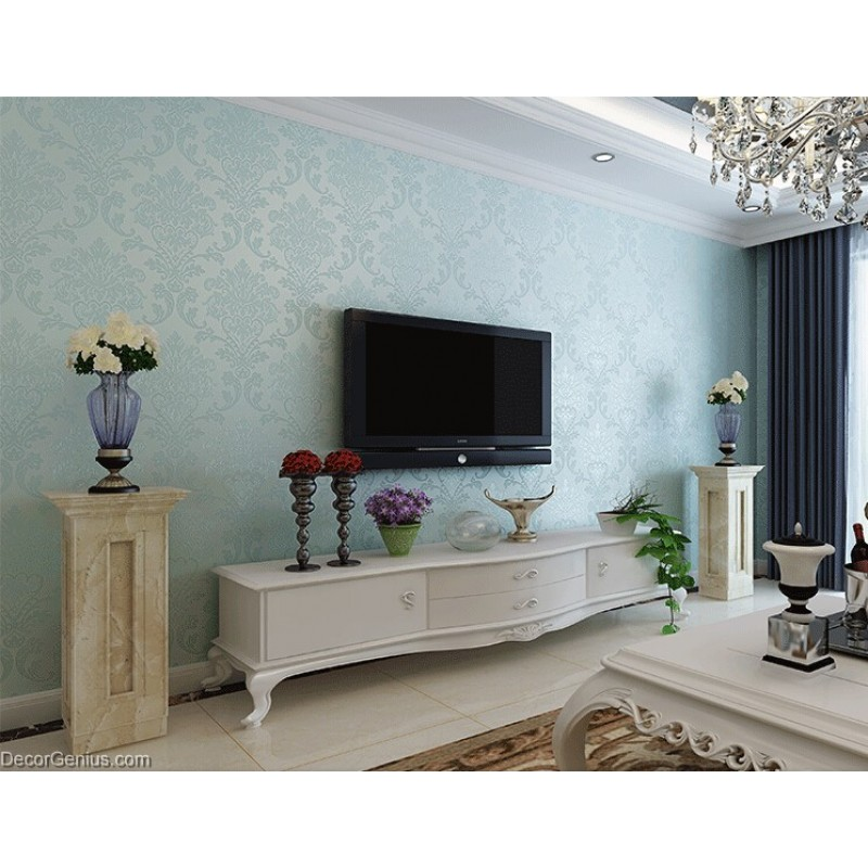 Light Blue Living Room 3D Flower Wallpaper Seasonal ...