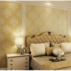 Living Room 3D Flower Wallpaper Dark Gold Seasonal Decoration Bedroom Wall Sticker