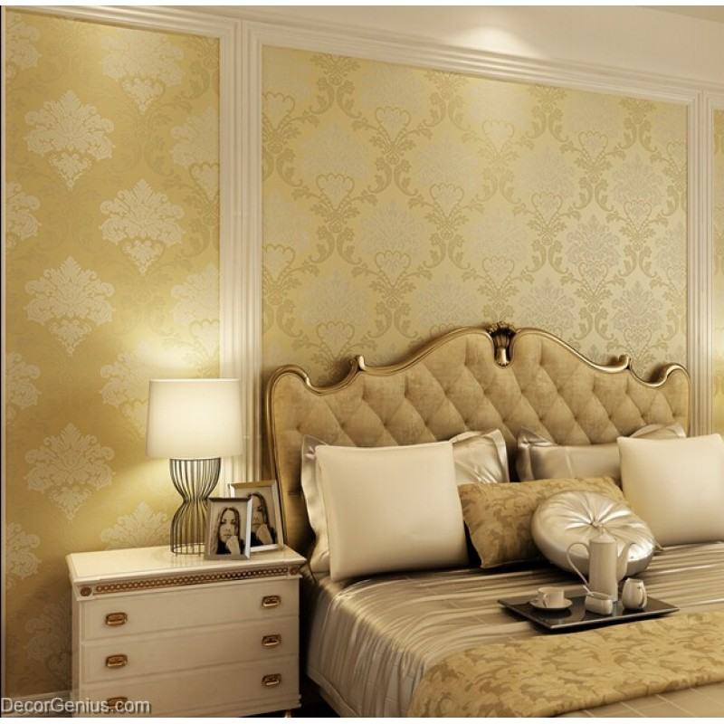 Living Room 3D Flower Wallpaper Dark Gold Seasonal Decoration ...