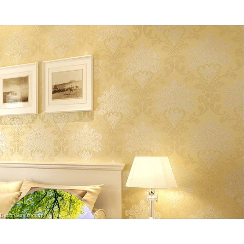 Living Room 3D Flower Wallpaper Dark Gold Seasonal Decoration ...