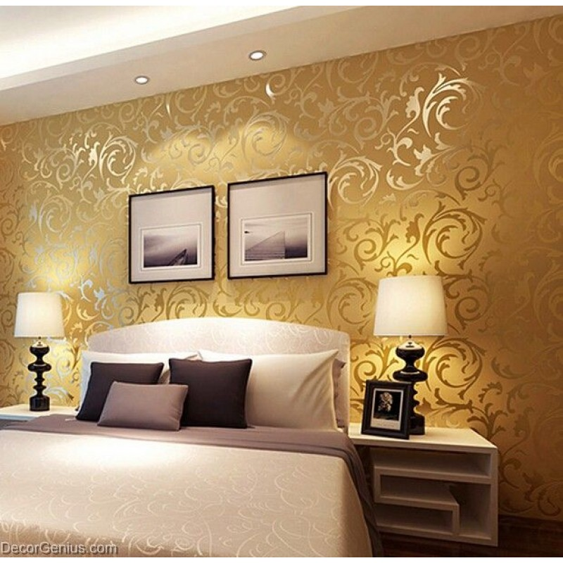 Popular 3d design dk gold bedroom wallpaper modern style for Bedroom wallpaper sale