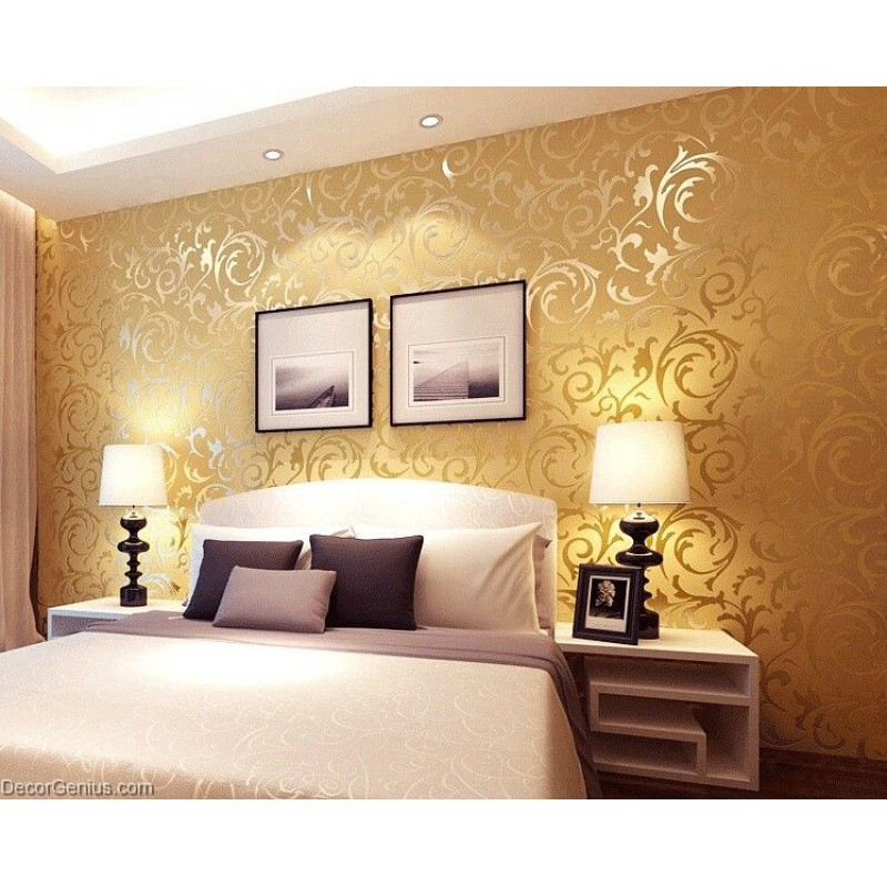 Popular 48D Design DK Gold Bedroom Wallpaper Modern Style DecorGenius Custom 3D Design Bedroom