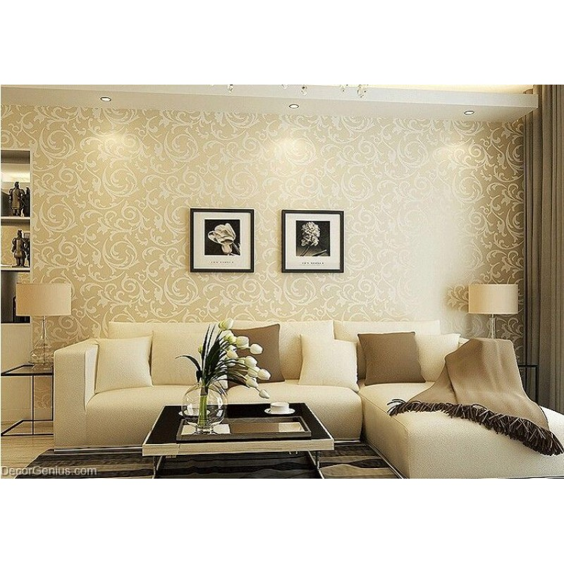 Wallpaper Design For Bedroom: Popular 3D Design Bedroom Wallpaper Light Gold Modern