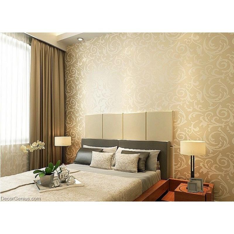 Popular 3D Design Bedroom Wallpaper Light Gold Modern