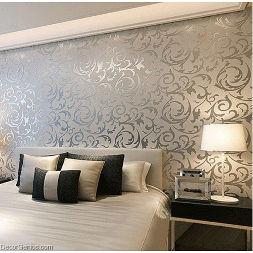 Popular 3D Design Silver Bedroom Wallpaper Modern Style DecorGenius DGWP004
