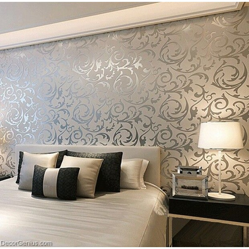 Wallpaper Design For Bedroom: Popular 3D Design Silver Bedroom Wallpaper Modern Style