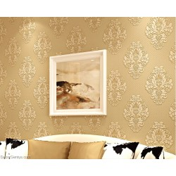 Gold Flower and Stripe Best Coordination LIving Wallpaper Soft and Smooth Natural Wallcovers
