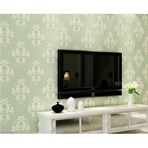 Flower and Stripe Best Coordination Green LIving Wallpaper Soft and Smooth Natural Wallcovers
